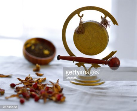 Herbal treatment and gong : Stock Photo