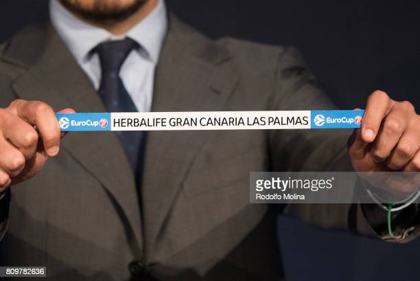 Herbalife Gran Canaria Las Palmas is drawn during the 20172018 7Days EuroCup Draw at Imagina Centre Audiovisual on July 6 2017 in Barcelona Spain