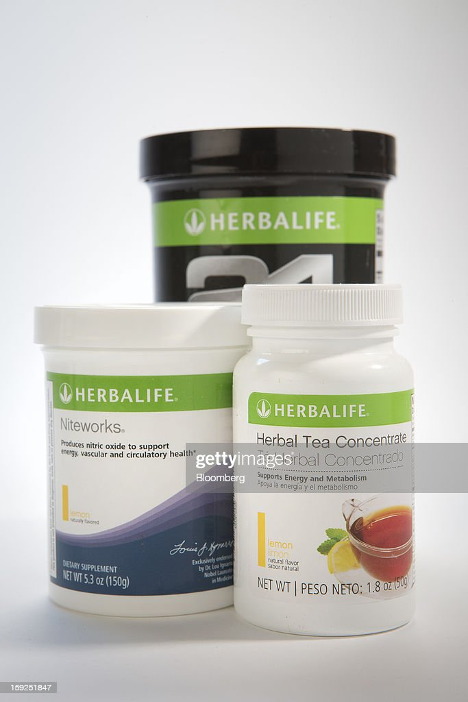 Herbalife Ltd. products are arranged for a photograph in New York, U.S., on Thursday, Jan. 10, 2013. Timothy Ramey, an analyst at D.A. Davidson & Co., said that Herbalife Ltd. has a legal corporate structure, rejecting hedge-fund manager Bill Ackman's theory that the direct-selling company operates as a pyramid scheme. Photographer: Scott Eells/Bloomberg via Getty Images