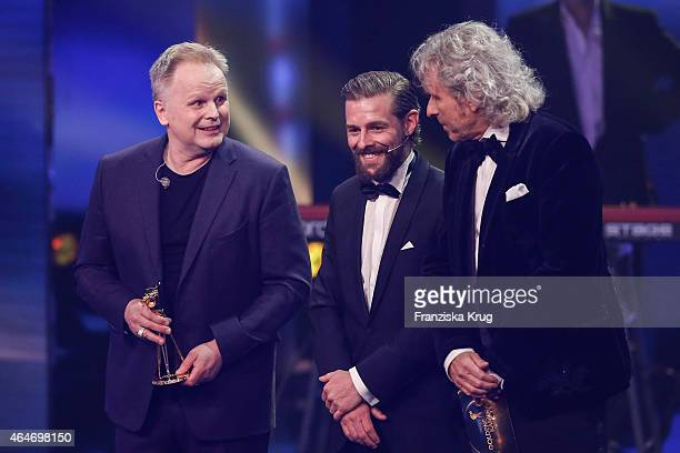 Herbert Groenemeyer Klaas HeuferUmlauf and Thomas Gottschalk attend the Goldene Kamera 2015 show on February 27 2015 in Hamburg Germany