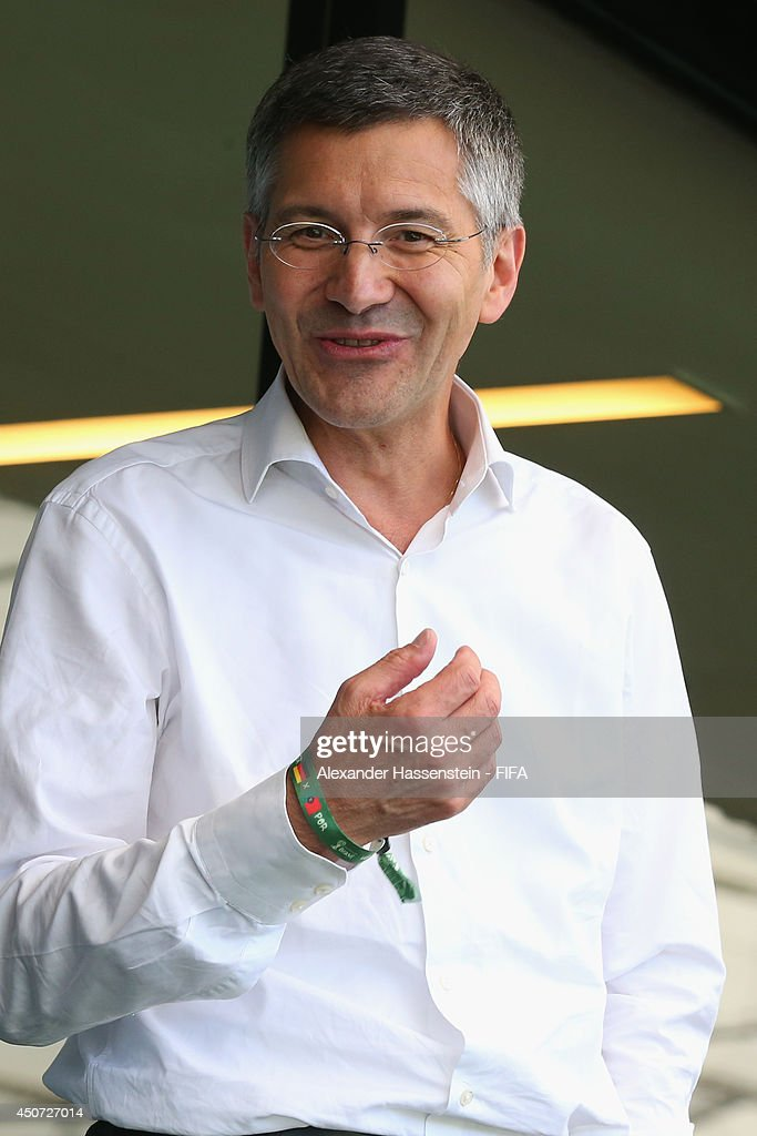 Herbert Hainer, CEO of adidas group smiles prior to the 2014 FIFA World Cup Brazil Group G match between Germany and Portugal at Arena Fonte Nova on June 16, 2014 in Salvador, Brazil.