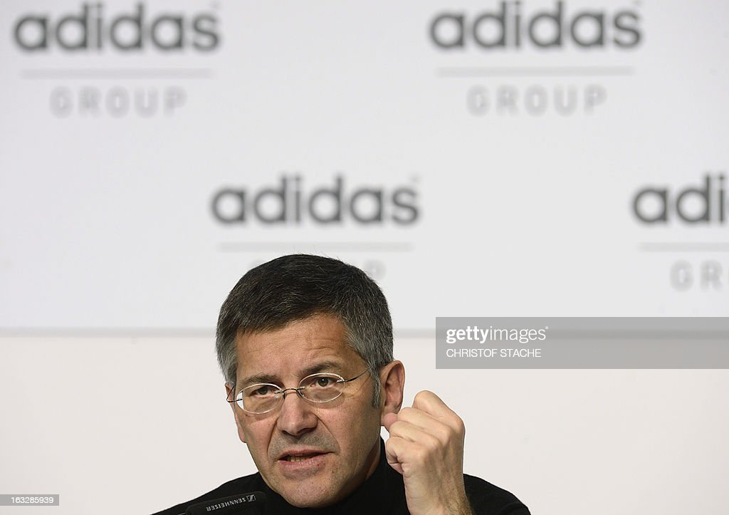 Herbert Hainer, CEO of German sportswear and equipment maker Adidas speaks during the yearly results press conference on March 7, 2013 in Herzogenaurach, southern Germany. Adidas said that one-off writedowns hit its bottom line in 2012, but underlying profits increased due to higher sales.