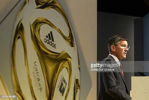 Herbert Hainer CEO of German sportswear giant Adidas speaks during the shareholders meeting on May 7 2015 in Fuerth southern Germany AFP PHOTO /...