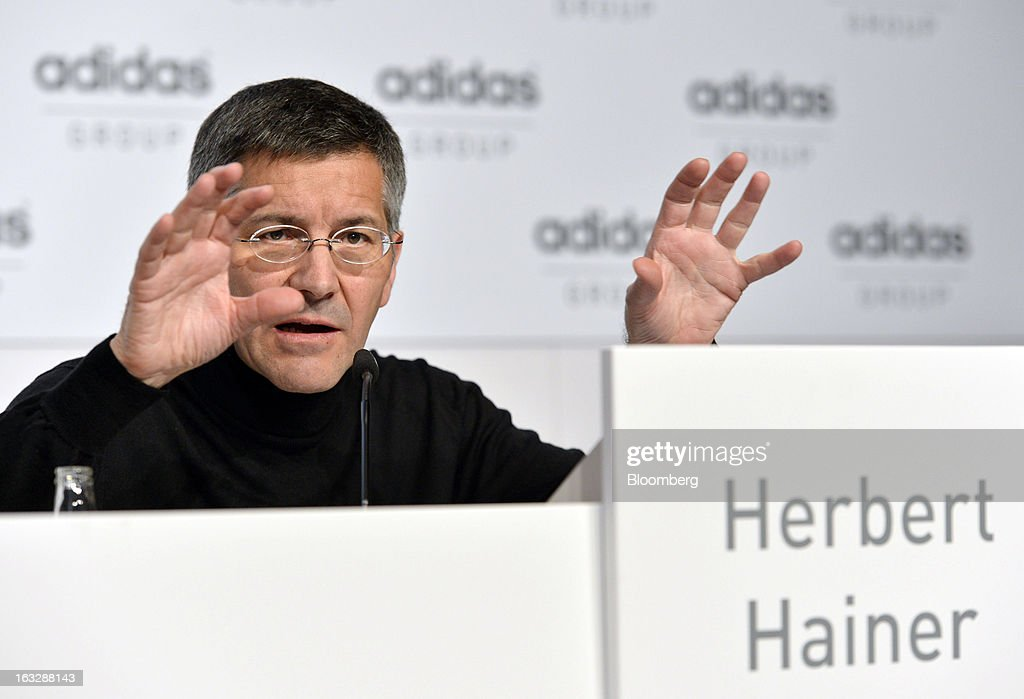 <a gi-track='captionPersonalityLinkClicked' href=/galleries/search?phrase=Herbert+Hainer&family=editorial&specificpeople=543915 ng-click='$event.stopPropagation()'>Herbert Hainer</a>, chief executive officer of Adidas AG, gestures as he speaks during the company's earnings news conference in Herzogenaurach, Germany, on Thursday, March 7, 2013. Adidas AG, the world's second-largest sporting-goods maker, forecast higher sales and profit this year and raised its dividend by 35 percent as it targets fast-growing emerging markets and introduces new products. Photographer: Guenter Schiffmann/Bloomberg via Getty Images