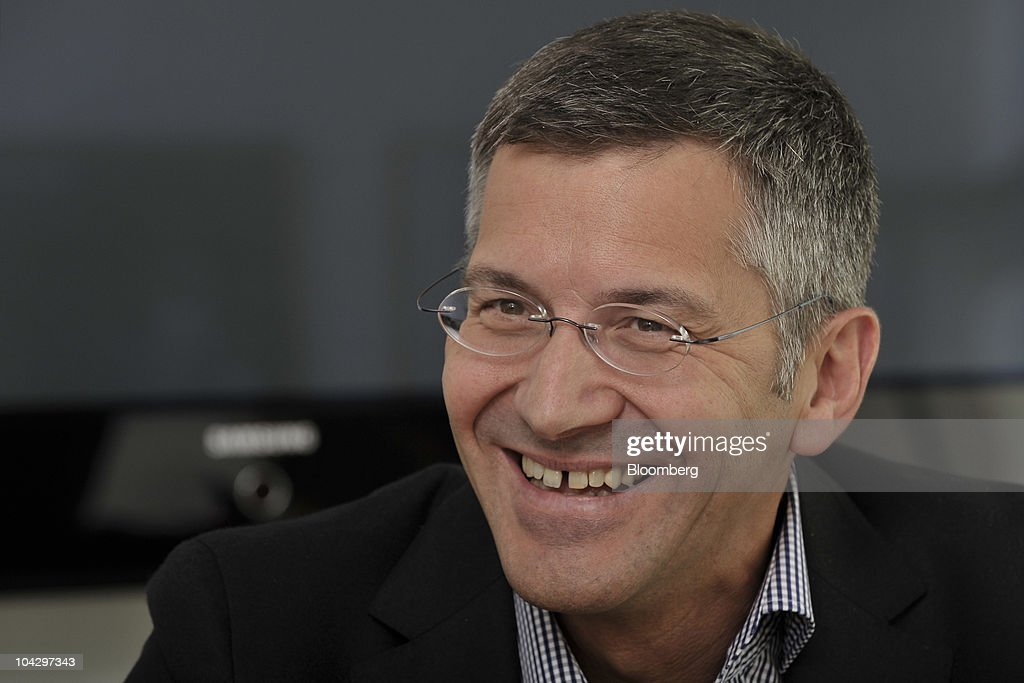 <a gi-track='captionPersonalityLinkClicked' href=/galleries/search?phrase=Herbert+Hainer&family=editorial&specificpeople=543915 ng-click='$event.stopPropagation()'>Herbert Hainer</a>, chief executive officer of Adidas AG, reacts during an interview at the company's headquarters in Herzogenaurach, Germany, on Monday, Sept. 20, 2010. Hainer said the economic recovery evident in Germany will last into next year and said he doesn't expect a second global recession. Photographer: Guenter Schiffmann/Bloomberg via Getty Images