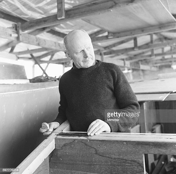 Herbert Hasler one of the Cockelshell heroes seen here at work on his sloop at the Don Fuller boatyard Bosham Sussex 1st March 1966