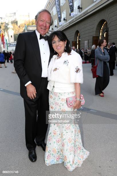 Herbert Kloiber Regine Sixt during the opening of the Easter Festival 2017 'Walkuere' opera premiere on April 8 2017 in Salzburg Austria The opera is...