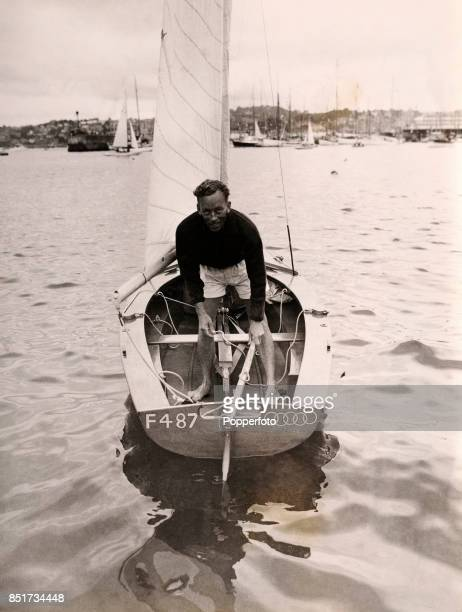 Herbert McWilliams of South Africa saiing in the Firefly class event during the Summer Olympic Games in Torquay Great Britain circa August 1948