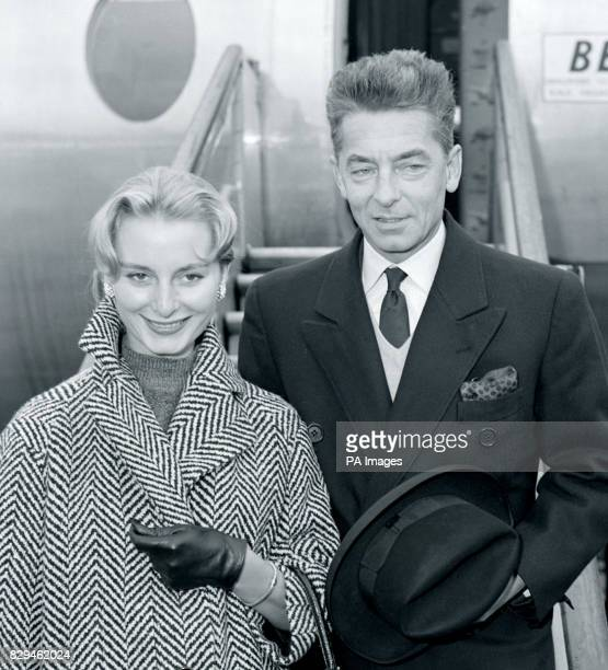 Herbert von Karajan with his bride former French model Eliette Mouret on arrival at London Airport