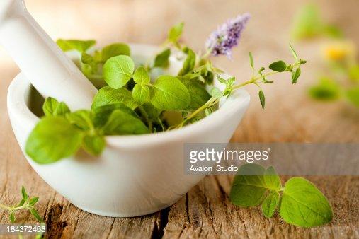 Herbes de Provence in a white mortar