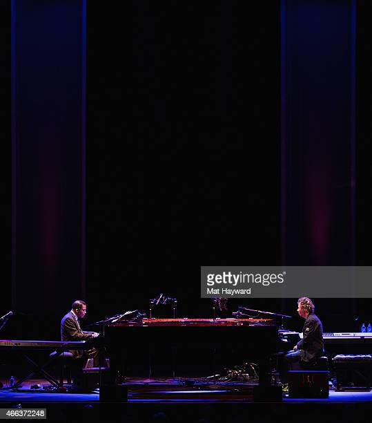 Herbie Hancock and Chick Corea perform on stage opening night of their tour at the Paramount Theatre on March 14 2015 in Seattle Washington