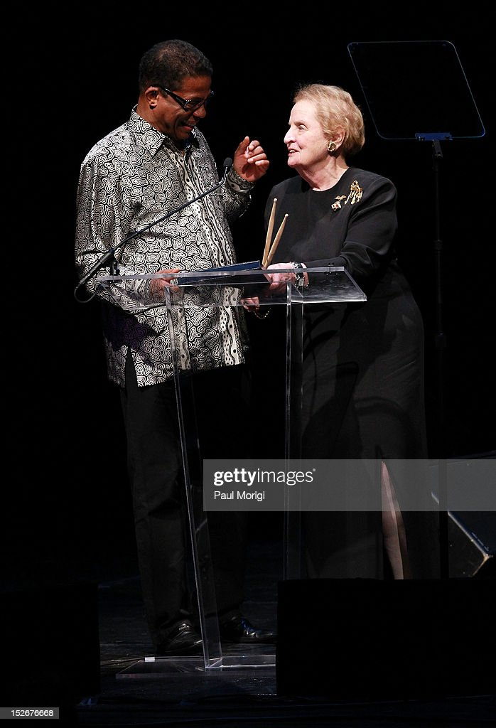 Herbie Hancock and honoree and former U.S. Secretary of State Madeleine Albright make a few remarks at the Thelonious Monk International Jazz Drums Competition and Gala Concert at The Kennedy Center on September 23, 2012 in Washington, DC.