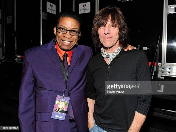 Herbie Hancock and Jeff Beck attends 2011 MusiCares Person of the Year Tribute to Barbra Streisand at Los Angeles Convention Center on February 11...