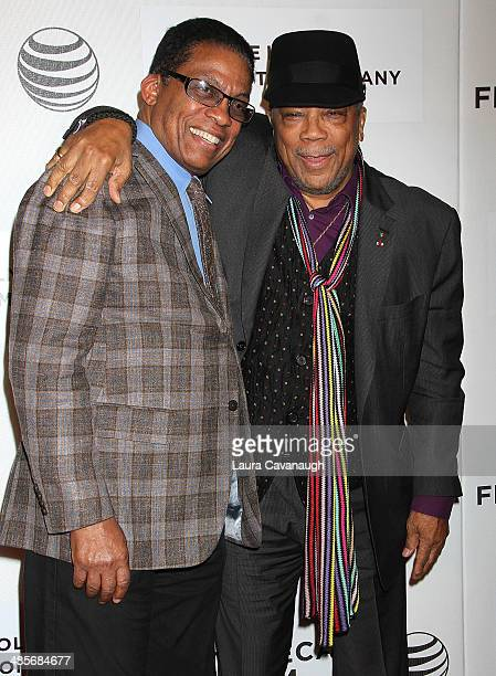 Herbie Hancock and Quincy Jones attend the premiere of 'Keep On Keepin' On' during the 2014 Tribeca Film Festival at BMCC Tribeca PAC on April 19...
