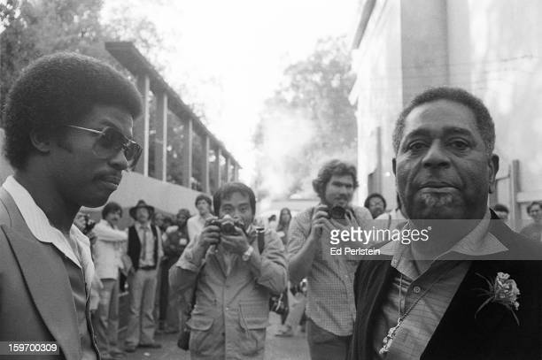 Herbie Hancock backstage with Dizzy Gillespie during the Berkeley Jazz Festival at the Greek Theatre in May 1979 in Berkeley California