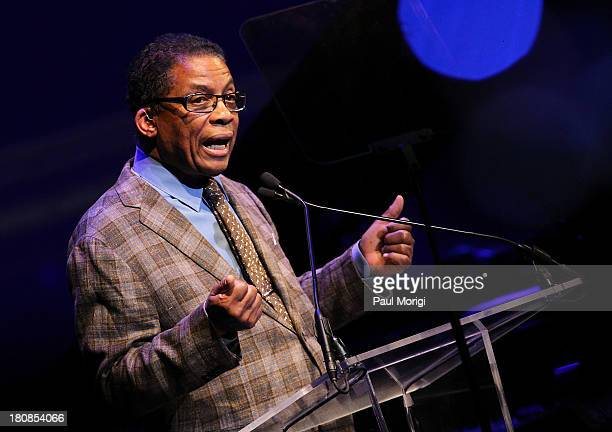 Herbie Hancock makes a few remarks at the 2013 Thelonious Monk International Jazz Saxophone Competition at The John F Kennedy Center for Performing...