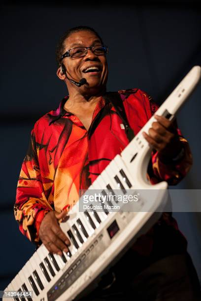 Herbie Hancock performs during the 2012 New Orleans Jazz Heritage Festival at the Fair Grounds Race Course on May 5 2012 in New Orleans Louisiana