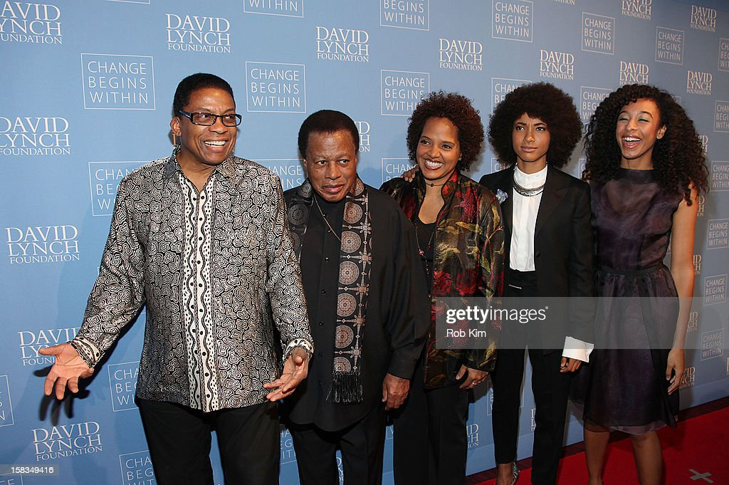 <a gi-track='captionPersonalityLinkClicked' href=/galleries/search?phrase=Herbie+Hancock&family=editorial&specificpeople=214131 ng-click='$event.stopPropagation()'>Herbie Hancock</a>, <a gi-track='captionPersonalityLinkClicked' href=/galleries/search?phrase=Wayne+Shorter&family=editorial&specificpeople=1065564 ng-click='$event.stopPropagation()'>Wayne Shorter</a>, Terri Lyne Carrington, <a gi-track='captionPersonalityLinkClicked' href=/galleries/search?phrase=Esperanza+Spalding&family=editorial&specificpeople=4151466 ng-click='$event.stopPropagation()'>Esperanza Spalding</a> and <a gi-track='captionPersonalityLinkClicked' href=/galleries/search?phrase=Corinne+Bailey+Rae&family=editorial&specificpeople=591814 ng-click='$event.stopPropagation()'>Corinne Bailey Rae</a> attend 'An Intimate Night of Jazz' hosted by The David Lynch Foundation at Frederick P. Rose Hall, Jazz at Lincoln Center on December 13, 2012 in New York City.