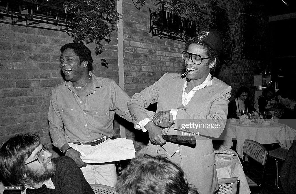 Herbie Hancock With Radio DJ Gred Edwards And CBS Staff At Rainbow Theatre, London