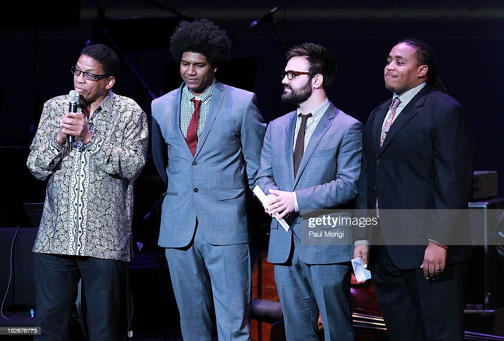 Herbie Hancock (L) with the Drums Competion finalists (L to R) Justin Brown, Colin Stranahan and Jamison Ross at the Thelonious Monk International Jazz Drums Competition and Gala Concert at The Kennedy Center on September 23, 2012 in Washington, DC.
