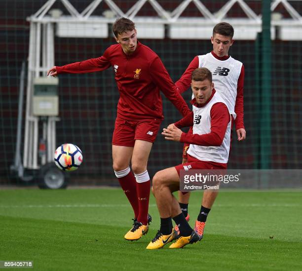 Herbie Kane and Cameron Brannagan of Liverpool during a training session at Melwood Training Ground on October 9 2017 in Liverpool England
