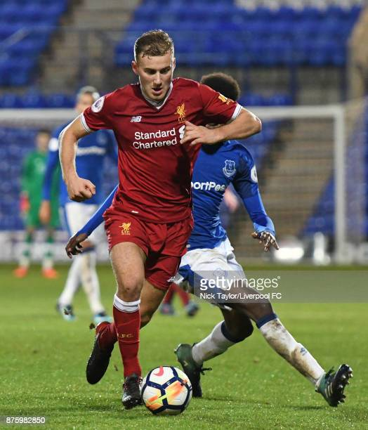 Herbie Kane of Liverpool and Beni Baningime of Everton in action during the Liverpool v Everton Premier League 2 game at Prenton Park on November 18...