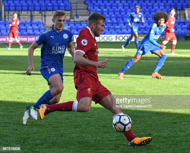 Herbie Kane of Liverpool and Kiernan DewsburyHall of Leicester City in action during the Liverpool v Leicester City PL2 game at Prenton Park on...
