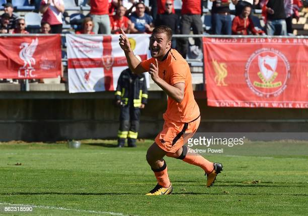 Herbie Kane of Liverpool celebrates after scoring the second for Liverpool during the UEFA Youth League group E match between NK Maribor and...