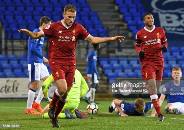 Herbie Kane of Liverpool celebrates scoring the opening goal during the Liverpool v Everton Premier League 2 game at Prenton Park on November 18 2017...