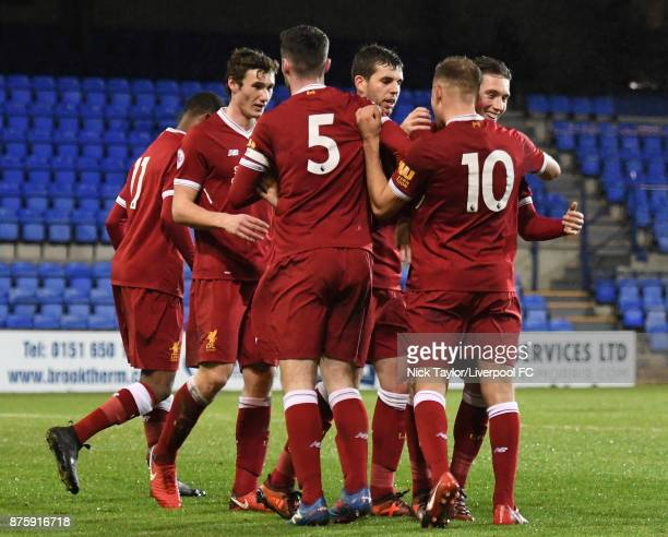 Herbie Kane of Liverpool celebrates scoring the opening goal with team mates during the Liverpool v Everton Premier League 2 game at Prenton Park on...