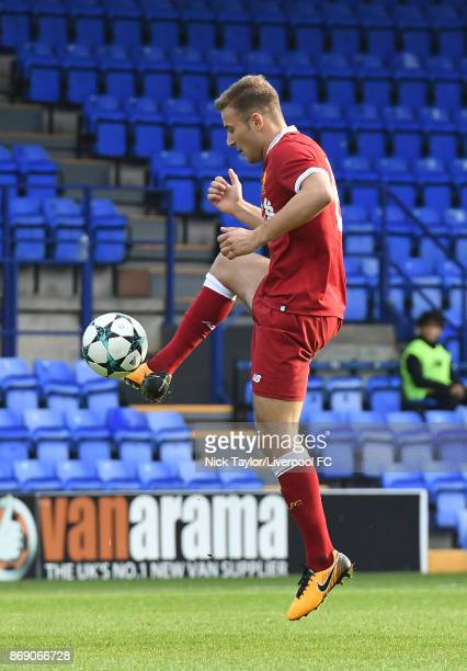 Herbie Kane of Liverpool in action during the Liverpool and Maribor UEFA Youth League game at Prenton Park on November 1 2017 in Birkenhead England