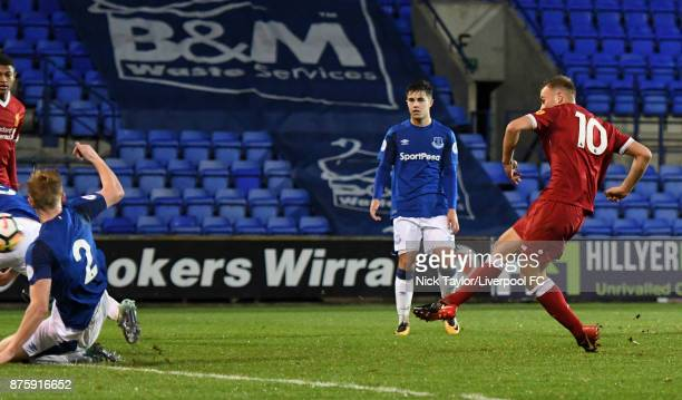 Herbie Kane of Liverpool scores the opening goal during the Liverpool v Everton Premier League 2 game at Prenton Park on November 18 2017 in...
