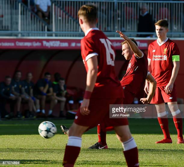Herbie Kane of Liverpool U19 scoring a free kick during the UEFA Champions League group E match between Sevilla FC U19 and Liverpool FC U19 at...