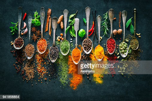 Herbs and spices for cooking on dark background : Foto stock