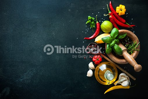 Herbs and spices on slate background : Stock Photo