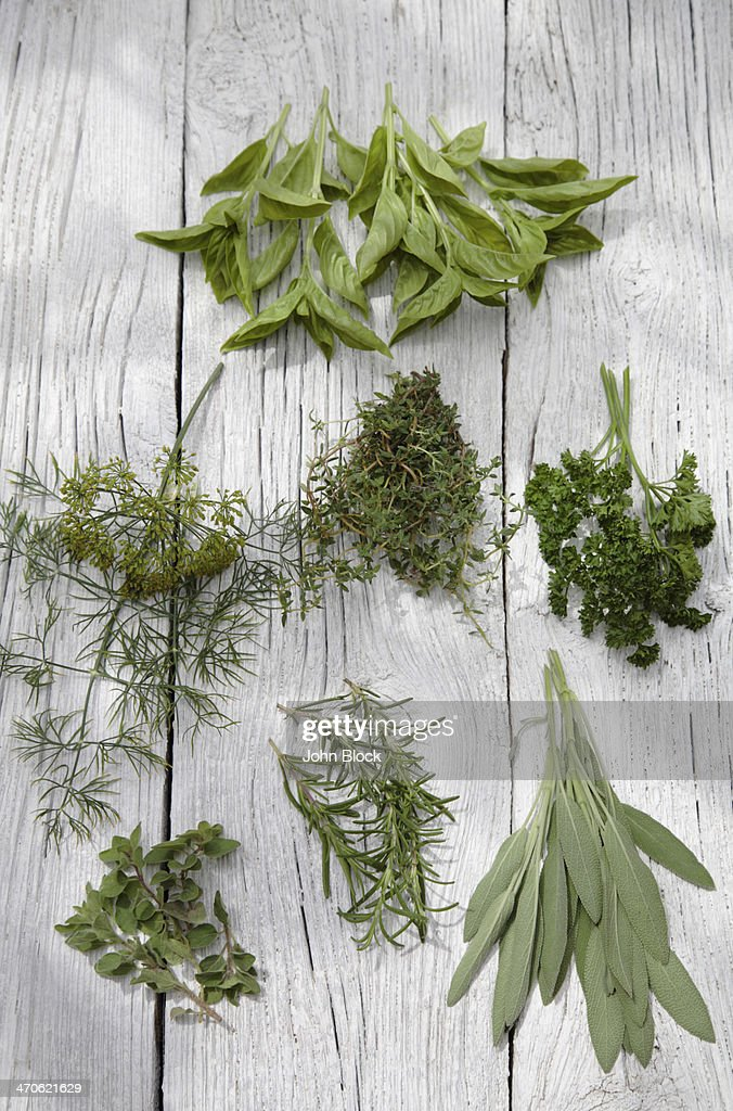 Herbs on wooden table