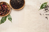 Close-up of dried herbs, aromatic plants and green leaves, used for their healing effects in traditional Chinese medicine