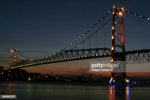 Hercilio Luz Bridge at sunset, Florianópolis