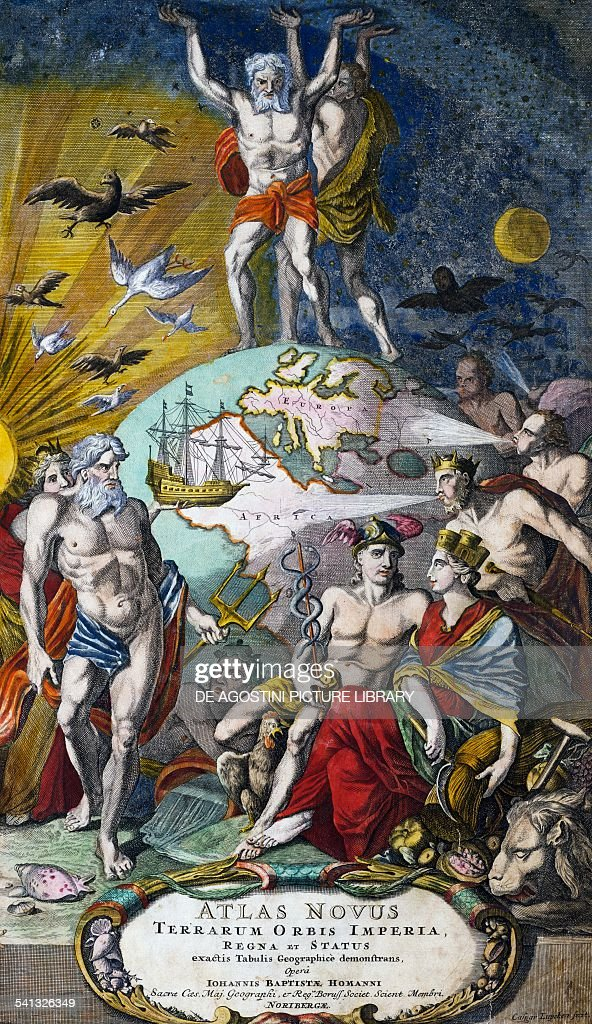 Hercules and Atlas holding up the heavenly vault title page of Atlas novus terrarum orbis imperia regna et status ca 1710 by Giovanni Battista Homann...