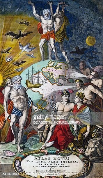 Hercules and Atlas holding up the heavenly vault title page of Atlas novus terrarum orbis imperia regna et status ca 1710 by Giovanni Battista Homann...
