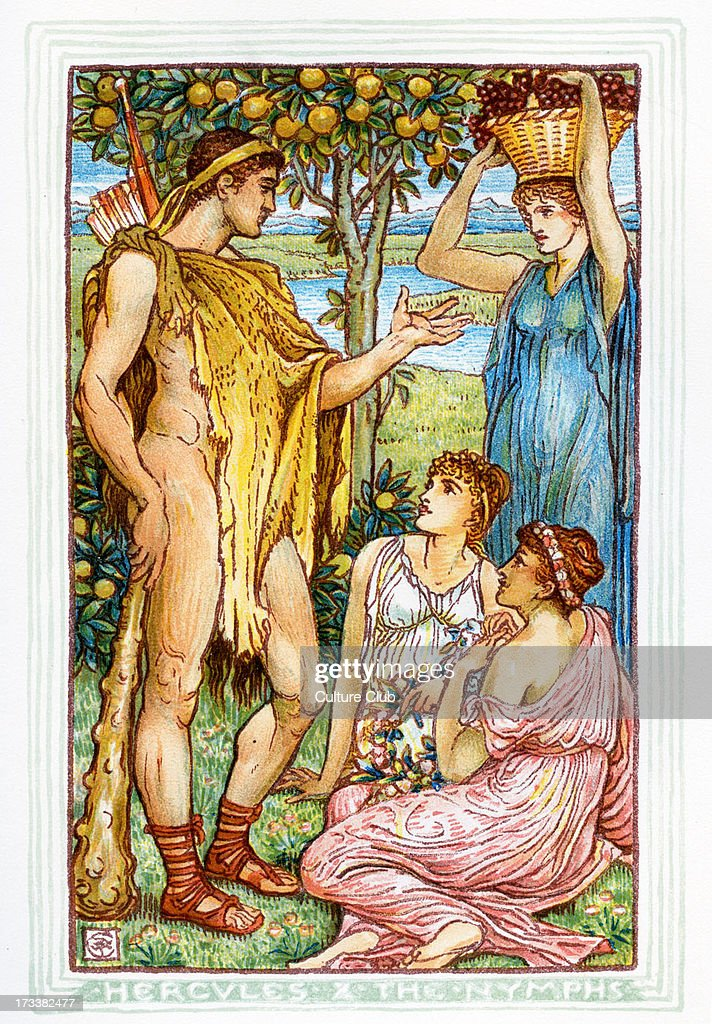 Hercules asking the Nymphs about the garden of the Hesperides seeking the golden apples Retelling of Greek Myths by Nathaniel Hawthorne Illustrations...