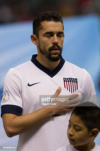 Hercules Gomez of the United States attends a match between Mexico and US as part of FIFA 2014 World Cup Qualifier at The Azteca stadium on March 26...