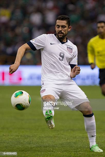 Hercules Gomez of the United States controls the ball during a match between Mexico and US as part of FIFA 2014 World Cup Qualifier at The Azteca...