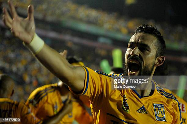 Hercules Gomez of Tigres reacts during a match between Tigres UANL v Santos Laguna as part of 11th round Apertura 2014 Liga MX at Universitario...
