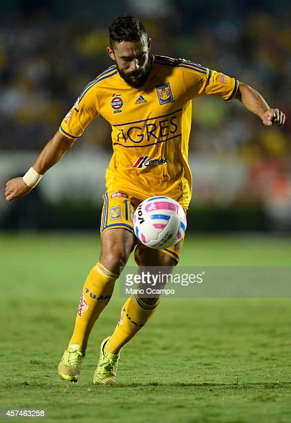 Hercules Gomez of Tigres receives the ball during a match between Tigres UANL and Cruz Azul as part of 13th round Apertura 2014 Liga MX at...