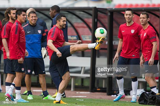 Hercules Gomez of US controls the ball during a training session prior a match between Mexico and US as part of the Concacaf Qualifiers at Azteca...