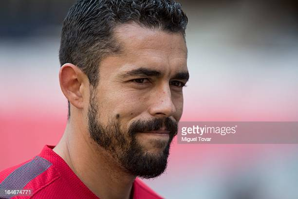 Hercules Gomez of US looks on during a training session prior a match between Mexico and US as part of the Concacaf Qualifiers at Azteca stadium on...