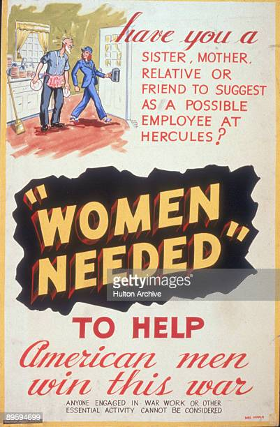 Hercules Powder Company poster entitled 'Women Needed to Help American Men Win This Way' depicts a kitchen scene where an elderly man in an apron...