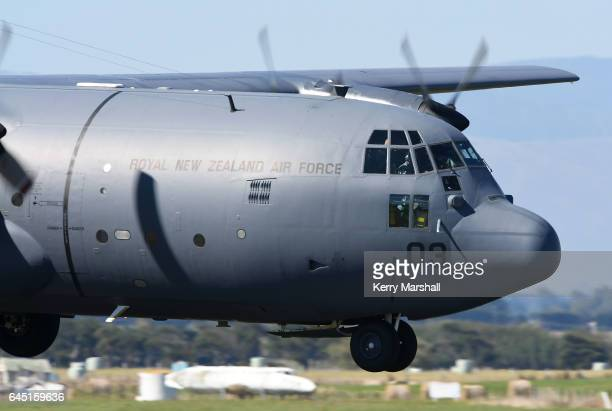 Hercules puts on a flying display at the 2017 Air Tattoo at RNZAF Base Ohakea on February 25 2017 in Ohakea New Zealand The Royal New Zealand Air...