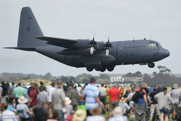 Hercules takes off at the 2017 Air Tattoo at RNZAF Base Ohakea on February 25 2017 in Ohakea New Zealand The Royal New Zealand Air Force is...
